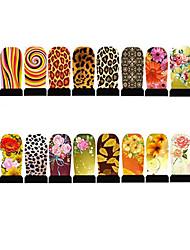 12pcs Nail Foil Art Armour Wraps Patch Stickers-Yellow Series