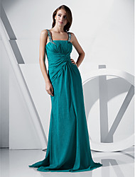 Sheath/ Column Straps Floor-length Chiffon Evening Dress