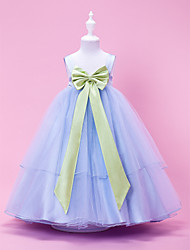 A-line/Princess/Ball Gown Tea-length Flower Girl Dress - Tulle/Stretch Satin Sleeveless