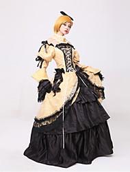 Inspiriert von Vocaloid Kagamine Rin Video Spiel Cosplay Kostüme Cosplay Kostüme / Kleider Vintage Lange ÄrmelKleid / Kopfbedeckung /