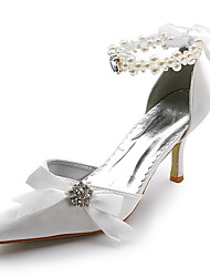 Women's Spring Summer Fall Winter Satin Stretch Satin Wedding Stiletto Heel Ribbon Tie