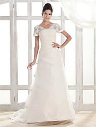 Lanting A-line V-neck Court Train Organza Wedding Dress