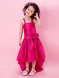 A-line Princess Knee-length Flower Girl Dress - Taffeta Straps with Bow(s) Flower(s) Sash / Ribbon