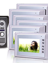 Six 7 Inch Color TFT LCD Video Door Phone Intercom System with Waterproof Camera (420 TVL)