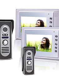 deux 7 pouces couleur TFT LCD vidéo porte téléphone système d'interphone avec 2 caméras étanches (420 TVL)
