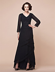 A-line Plus Sizes / Petite Mother of the Bride Dress - Black Asymmetrical Long Sleeve Chiffon