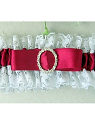Garter In Satin And Lace With Oval Rhinestones