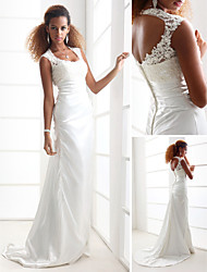 Sheath/Column Plus Sizes Wedding Dress - Ivory Sweep/Brush Train Scoop Charmeuse