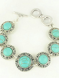 Turquoise And Silver Alloy Round Charm Toggle Bracelet