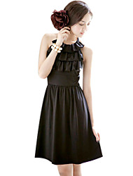 Halter Neck A-line Knee-length Date Night Dress With Belt (More Colors)