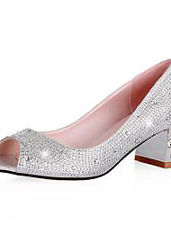 Sparkling Glitter Chunky Heel Peep Toes With Rhinestones