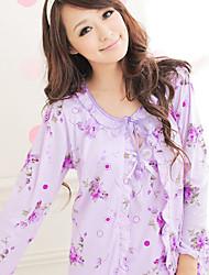 triplo-parte flor impresso conjunto de pijama