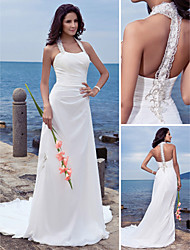 Lan Ting Sheath/Column Plus Sizes Wedding Dress - Ivory Court Train Halter Chiffon