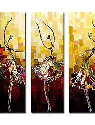 dipinto a mano olio su tela astratta con telaio allungato - set di 3