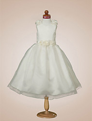 Ball Gown V-neck Tea-length Satin Flower Girl Dress