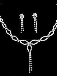 Crystal In Sliver Alloy Wedding Jewelry Set With Necklace & Earrings