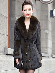 Shawl Collar Long Sleeve Rabbit Fur Party/Office Coat (More Colors)