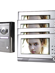 Four 7 Inch Monitor  Color Video Door Phone System with  Alloy Weatherproof Cover Camera