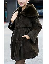 turndown collo di pelliccia di coniglio manica lunga con tasche sera / ufficio cappotto (altri colori)