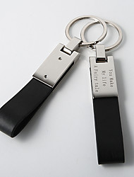 Personalized Black Leather Key Ring (Set of 4)