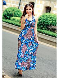 Cotton Sheath/Column Halter Neck Maxi Dress (More Colors)