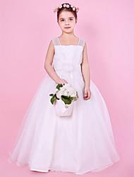 A-line/Princess/Ball Gown Floor-length Flower Girl Dress - Satin/Organza Sleeveless