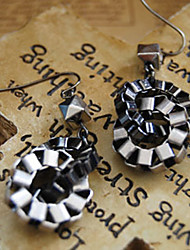 Black Button Design Earrings