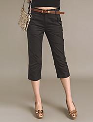 mid-rise reta puros calças trimestre
