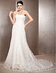 Lanting Bride® A-line / Princess Plus Sizes / Petite Wedding Dress - Elegant & Luxurious Court Train Sweetheart Lace with