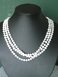 Super Long White Fresh Water Pearl Necklace/ Free Style
