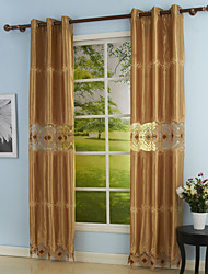 (Two Panels) Gold Embroidery Window Curtain