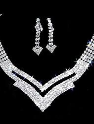 """lindo strass duas peças recorte """"v"""" conjunto de jóias das senhoras do projeto """"(45 cm)"""
