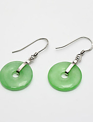 Jade Sterling Silver Simple Design Ladies' Earring