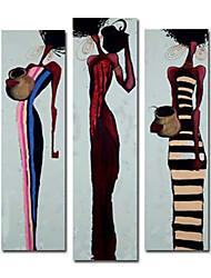 pintado a mano las personas pintura al óleo con marco estirado - juego de 3
