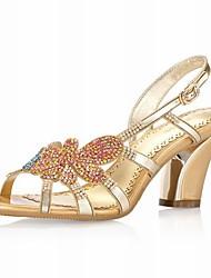 Echtleder Blockabsatz Pumps / Sandalen mit Strass Hochzeit Schuhe