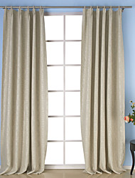 Two Panels Neoclassical Solid Ivory Dining Room Polyester Panel Curtains Drapes