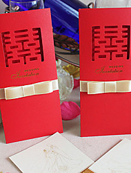 "personalizado chinês estilo do entalhe ""dupla felicidade"" convite de casamento (conjunto de 60)"