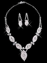 deslumbrante prata strass duas senhoras peça 'folhas conjunto de jóias de casamento (45 cm)
