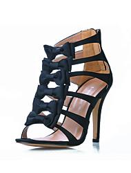 Satin Stiletto Heel Sandals With Bowknot