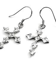 циркон серебро креста женская сережка