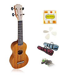 yadars - ukulele soprano mogno com tubo show saco / pitch / picaretas / capo