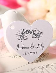el corazón en forma personalizada etiqueta del favor - el amor (juego de 60)