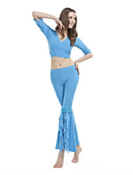 Dancewear Crystal Cotton Belly Top And Pant for Ladies More Colors