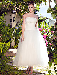 LAN TING BRIDE Ball Gown Wedding Dress - Chic & Modern Reception Simply Sublime Ankle-length Strapless Tulle with Beading Draped Ruche