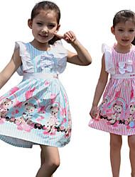 Toy Bear Print Striped Cotton Dress