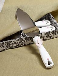 выступающей сетов свадебный торт нож, охватывающей hearts дизайн смолы сервер ручка торт