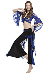 Dancewear Crystal Cotton With Lace Belly Pant Outfit for Ladies More Colors