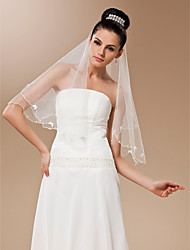 One-tier Tulle With Pearls Elbow Length Veil
