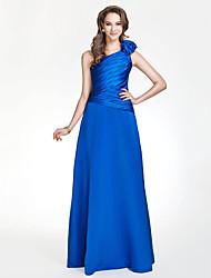 Floor-length Satin Bridesmaid Dress - Royal Blue Plus Sizes A-line/Princess One Shoulder