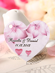 Personalized Heart Shaped Favor Tag - Fuchsia Flower (Set of 60)